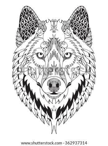 gray wolf head zentangle