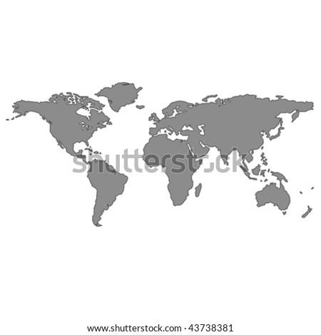 gray world map, vector art illustration