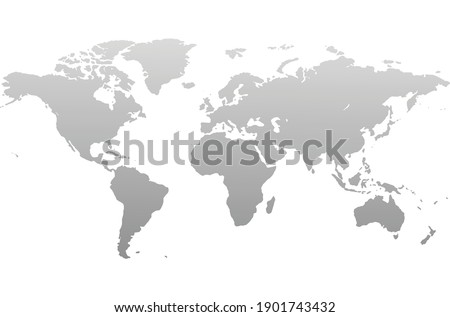 Gray world map vector, isolated on white background. Flat Earth, gray map template for web site pattern, annual report, infographics. Globe similar world map icon.