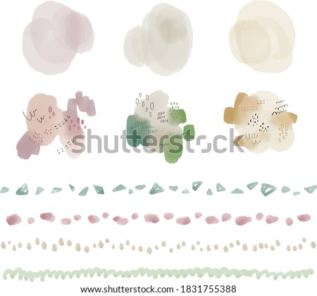 Grayish nuance color watercolor hand-painted material / line / round parts / abstract pattern decoration Photo stock ©