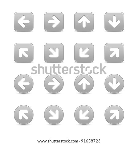 Grays web button icon with white arrow sign. Round and square shapes with grey drop shadow on white background. This vector illustration created and saved in 8 eps