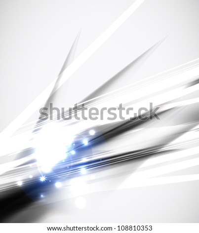 Grayscale abstract geometric line background with blue sparkling