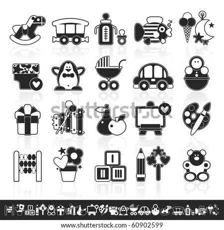 grayscale baby icons