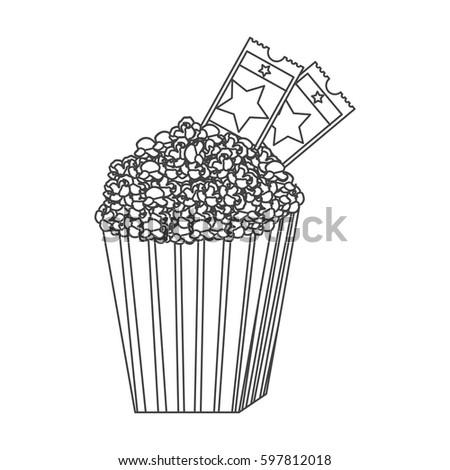 grayscale contour of popcorn