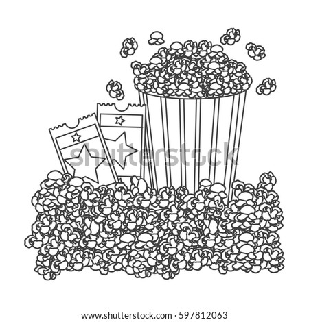 grayscale contour with popcorn