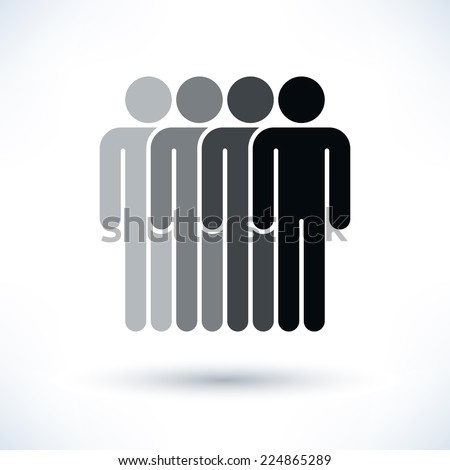 Grayscale four people (man figure) with gray drop shadow isolated on white background in flat style. Graphic clip-art design elements save in vector illustration 8 eps