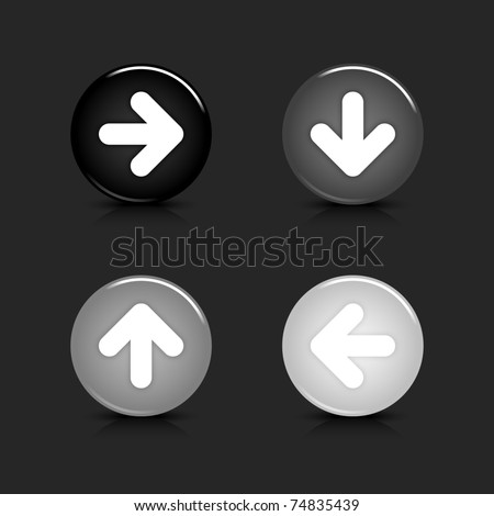 Grayscale glossy round web 2.0 button arrow icon with reflection and shadow on gray. 10 eps