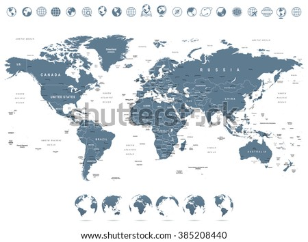 Grayscale World Map and Globe Icons - illustration\ \ \ Highly detailed vector illustration of world map.\ \ Image contains next layers:\ - land contours\ - country and land names\ - city names\ - water object