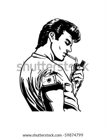 Greaser Lighting Cigarette - Retro Clip Art