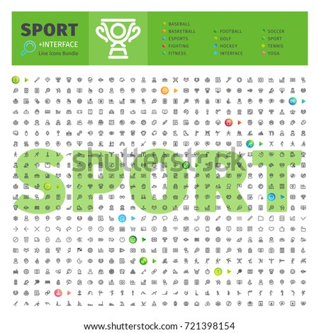 Great Big Thematic Bundle of 600 Sport line icons suitable for web, infographics and apps. Complete collection. Clipping paths included.