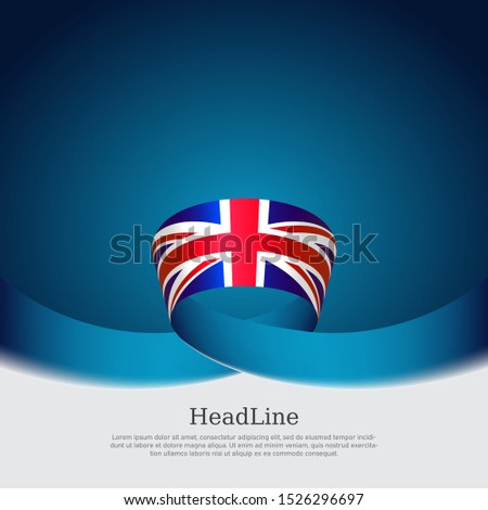 Great Britain flag background. Wavy ribbon color flag of great britain on a blue background. National poster of the united kingdom. United Kingdom state patriotic banner, flyer, cover. Vector design