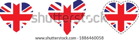 Great Britain flag. Heart with flag of Great Britain . Love Great Britain   emblem.