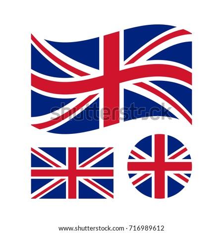 Great britain flag set. Rectangular, waving and circle Union Jack flag. UK, british national symbol. Vector icons isolated on white background