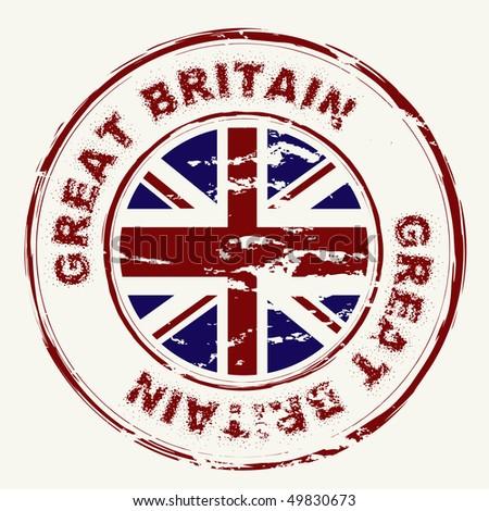 great britain grunge ink rubber ...
