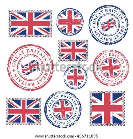 great britain grunge postal...