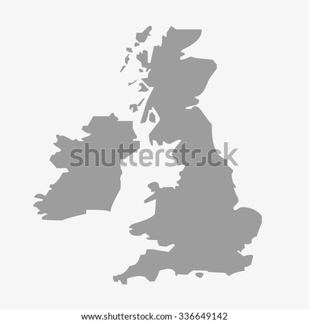 great britain map gray
