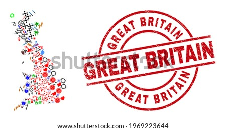 Great Britain map mosaic and unclean Great Britain red circle stamp seal. Great Britain seal uses vector lines and arcs. Great Britain map collage contains gears, homes, screwdrivers, suns, stars,
