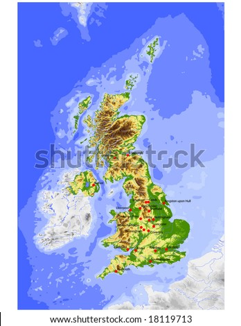 Great Britain. Physical vector map, colored according to elevation, with rivers, ocean depths and selected cities. Surrounding territory greyed out. 33 layers, fully editable. Data source: NASA