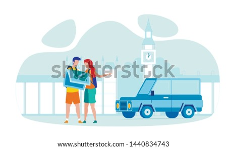 Great Britain Road Trip Flat Vector Illustration. Tourists with Backpacks Cartoon Characters Searching London Landmarks. UK Sightseeing Tour. Big Ben World Famous Tourist Attraction