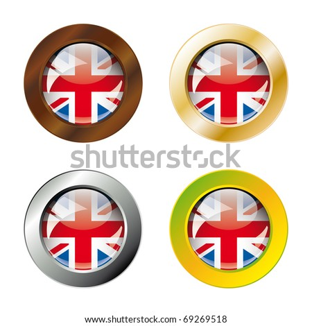 Great britain shiny buttons flag with metal ring vector illustration. Isolated abstract object against white background.