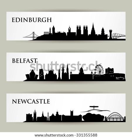 Great Britain skylines - vector illustration