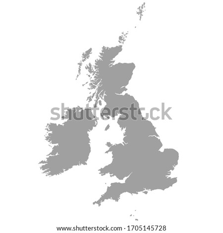 Great Britain vector map in gray on a white background