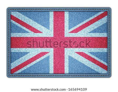 Great Britan flag. Realistic denim. Vector illustration. eps10