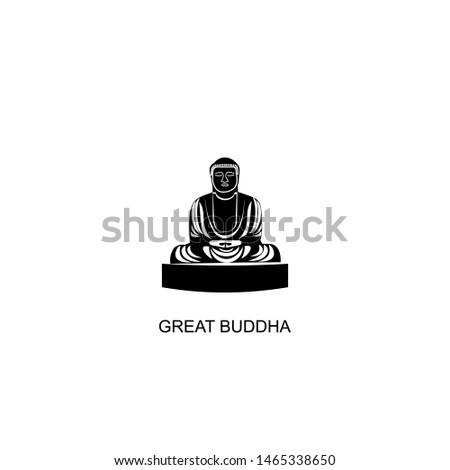 great buddha icon vector black