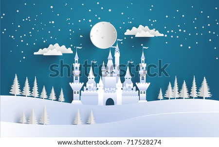 great castle on a snowy winter hill. beautiful winter backdrop with art paper and craft designs