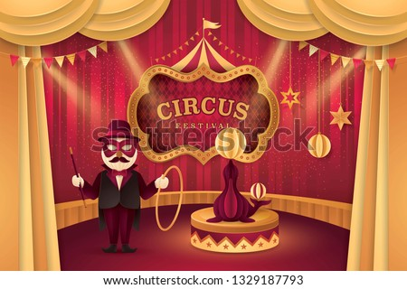 Great Circus Carnival show, Fur Seal on a circus stand with ball and Animal Trainer, Gold Curtains stage with Circus Frame, triangle bunting flags, Sea Lion Fun Fair, Walrus festival,Paper art vector