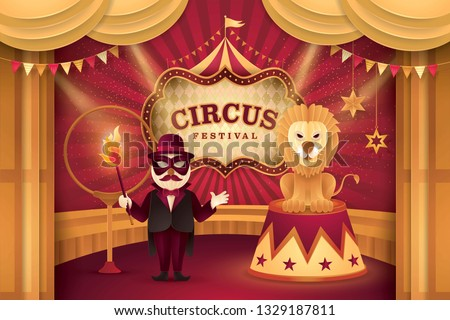 Great Circus show, Lion on a circus stand and Performer Controlling with Ring of Fire, Gold Curtains stage with Circus Frame, triangle bunting flags,Animal Fun Fair, Carnival festival,Paper art vect0r
