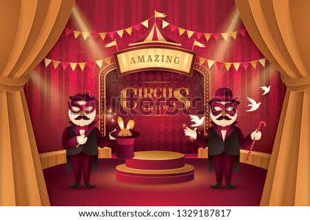 Great Circus show, Magic show and magician trick with bunny rabbit in hat, Gold Curtains stage with Circus Frame, triangle bunting flags,Animal Fun Fair,Carnival festival,Paper art vector illustration
