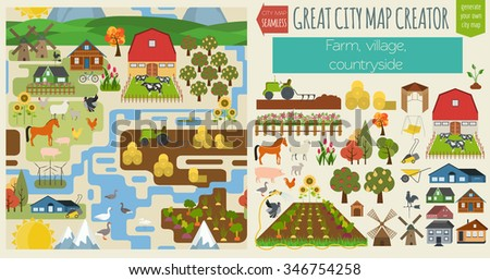 Royalty free create your own farm big set of design for Design your own farm layout