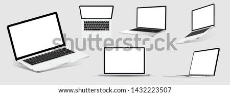 Great Collection Mock-ups of realistic laptops. 3D isometric set device. Side, top view and isometric. Vector collection Mockups generic device. Template notebook for presentation.