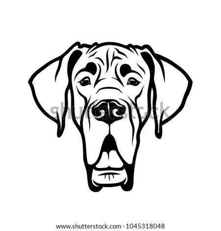 Great Dane dog - isolated outlined vector illustration Foto d'archivio ©