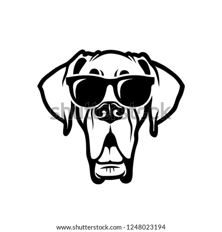 Great Dane dog wearing sunglasses - isolated outlined vector illustration Foto d'archivio ©