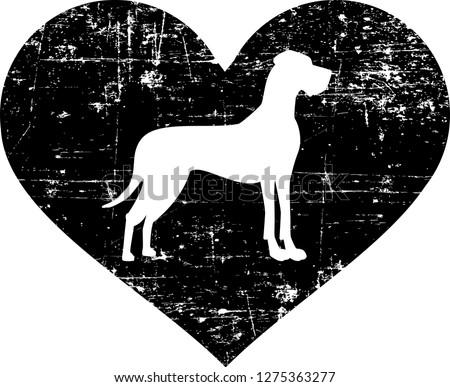 Great Dane silhouette in black heart
