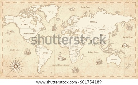 Great Detail Illustration of the world map in vintage style with all countries boundaries and names on a old parchment background.  #601754189