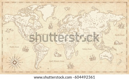 Map vector of africa great detail illustration of the world map in vintage style with mountains trees cities gumiabroncs Choice Image