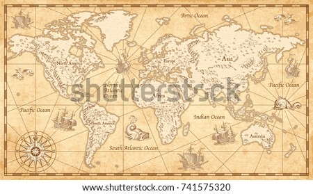 Great Detail Illustration of the world map in vintage style with mountains, trees, cities and main rivers on a old parchment background.  #741575320