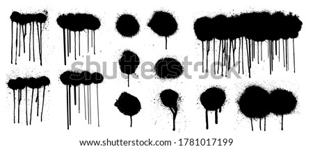 Great graffiti spray collection with high detail. Isolated collection drips black ink splatters and dots from spray with current paint. Blank Graffiti template mockup with effect spray. Vector grunge