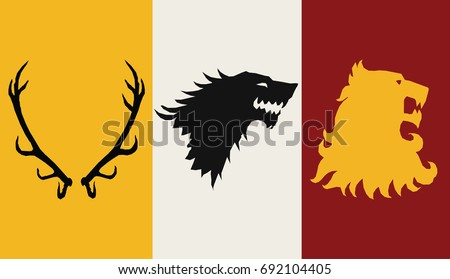 Stock Photo Great Houses Minimalistic Icons. A song of Ice and Fire Great House Heraldry. Game of Thrones heraldic vector sign. Game of Thrones Vector Icons. Great Houses of Westeros. CMYK.