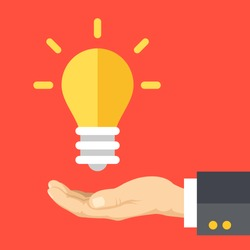 Great idea, business solution, innovative technology. Human hand and lightbulb. Modern flat design concept for web banners, web sites, printed materials, infographics. Creative vector illustration