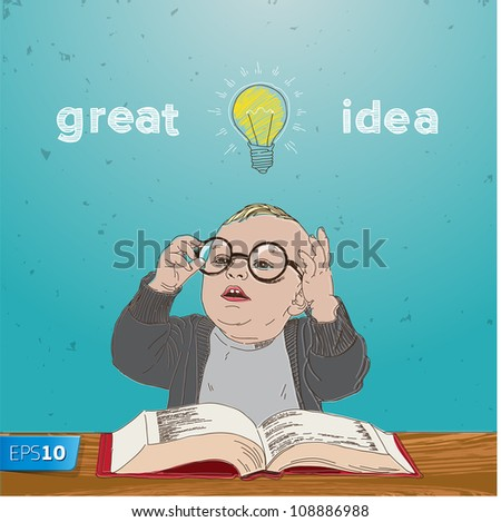 Great idea, kid with bulb above his head, vector Eps10 illustration.
