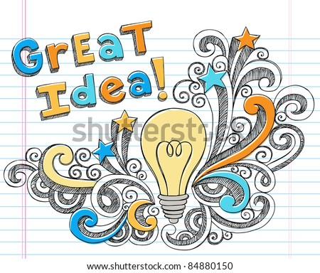 Great Idea LIghtbulb Hand-Drawn Sketchy Notebook Doodles on Lined Sketchbook Paper Background- Vector Illustration - stock vector
