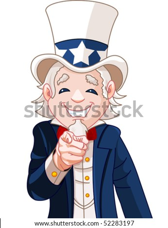 Great illustration of Uncle Sam pointing. Perfect for a USA or Fourth of July illustration.