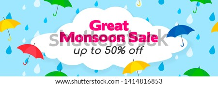 Great Monsoon Sale Banner Vector Illustration. Umbrellas on rain drops background.