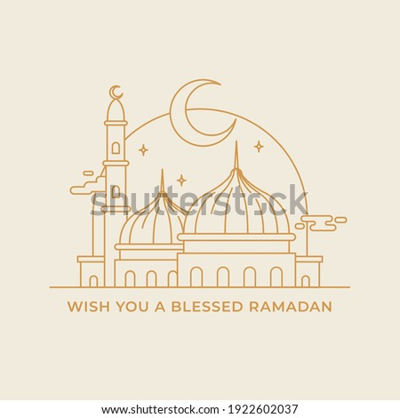 Great mosque landscape monoline modern hand drawing style vector illustration for ramadan eid template