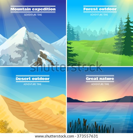 Great nature camping 4 flat pictograms collection with forest desert and mountains expeditions abstract isolated vector illustration