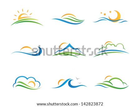 great nature landscape icon logo